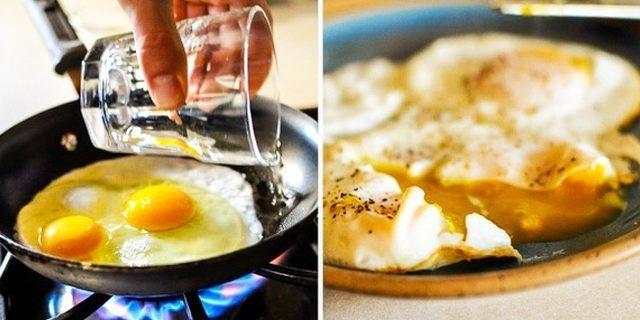 Yumurta pişirirken tavaya neden su eklemelisiniz?