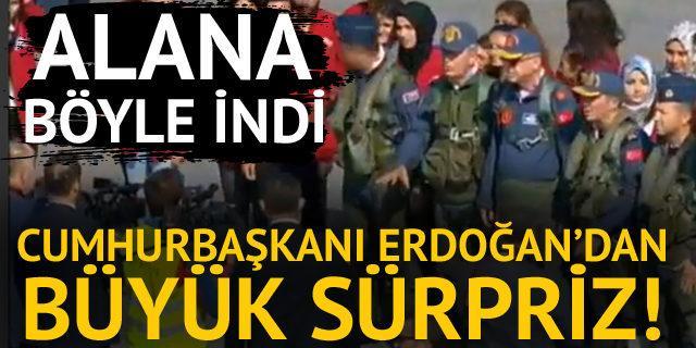 Cumhurbaşkanı Erdoğan'dan büyük sürpriz! Alana böyle geldi