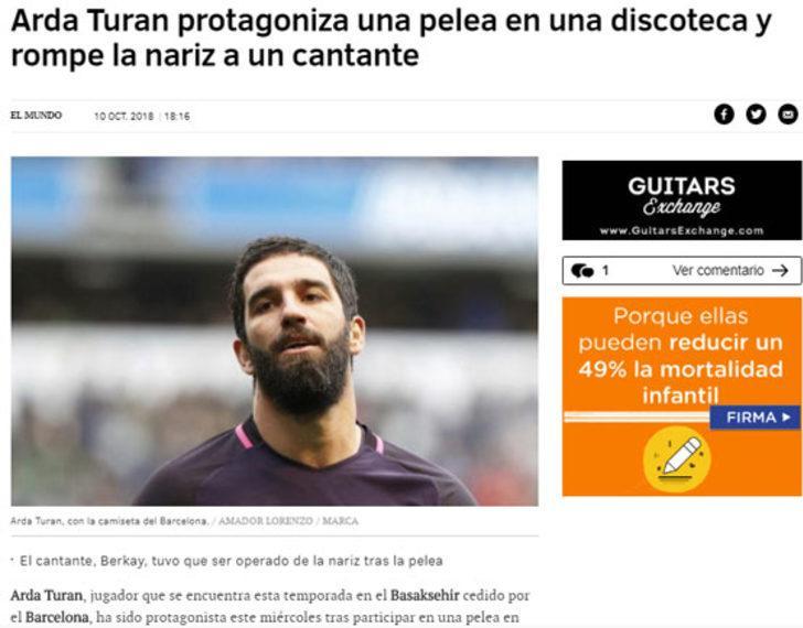 Özelllikle Romanya basını, bir dönem Barcelona'da forma giyen Arda Turan'ın uzun süredir cezalı olduğu için forma giyemediği dönemde yaşamış olduğu bu olayı, Arda Turan'ın düşüşü olarak okuyucularına sundu.