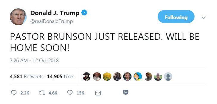 Trump: Rahip Brunson serbest bırakıldı, yakında evinde olacak