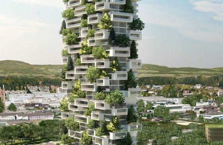 Biz Apartman Dikmek İçin Ağaçları Kese Duralım İsviçre'de İçinde Küçük Bir Orman Olan Gökdelen Yapıyorlar